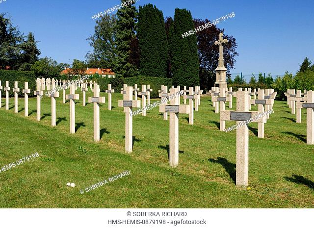 France, Moselle, Sarrebourg, Military cemetery, graves of polish soldiers died in Lorraine during the second World War