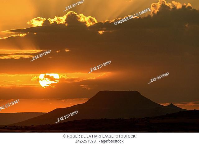 Sunset and desert scenery. Desert Rhino Camp. Palmwag Concession. Namibia