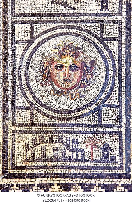 Roman Mosaic with the head of Medusa , Naples National Archaeological Museum ,