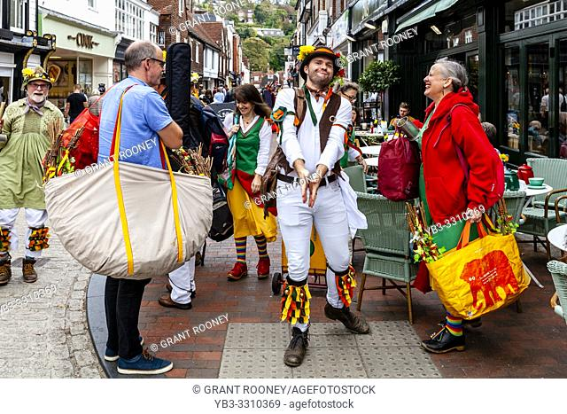 Morris Dancing Sides From Around The South East of England Perform At The Annual Lewes Folk Festivalâ. . s Day of Dance, Lewes, Sussex, UK
