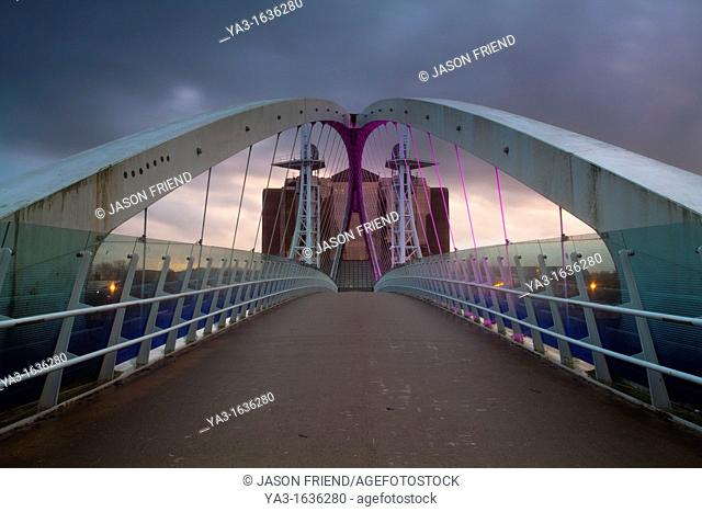 England, Greater Manchester, Salford Quays  The Lowry Bridge located on the Salford Quays in the city of Salford near Manchester Old Trafford