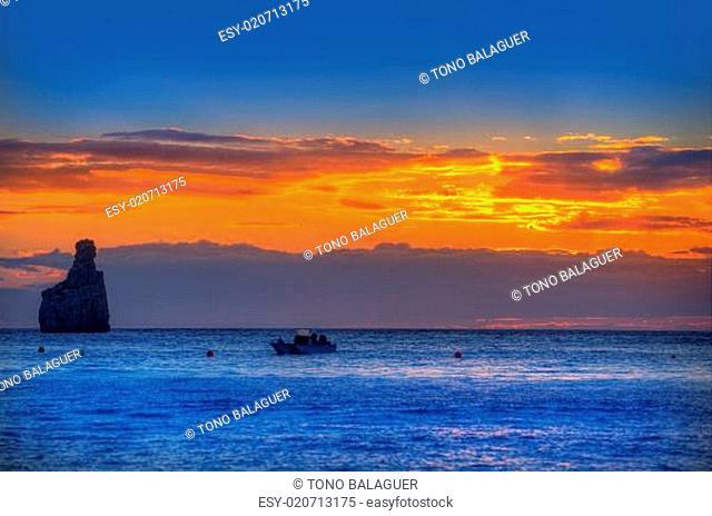 Ibiza Cala Benirras sunset beach in san Juan at Balearic