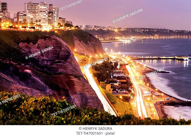 Peru, Lima, Miraflores, Cliffs of Miraflores at sunset