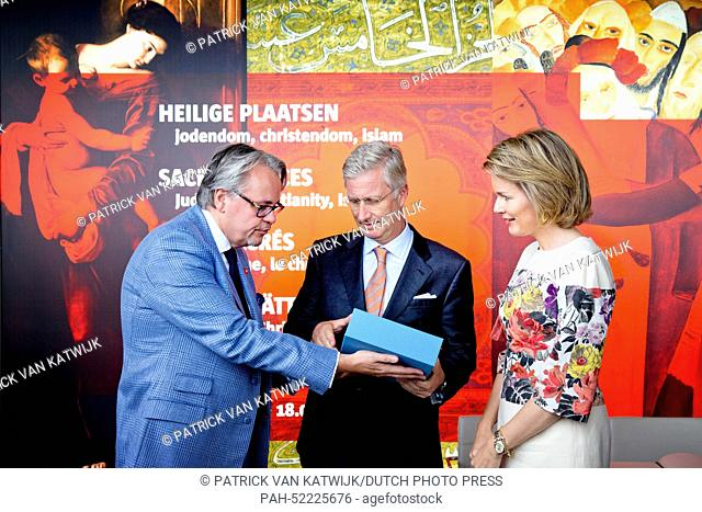 King Philippe (Filip) and Queen Mathilde of Belgium vist the exhibition -Sacred Places, Sacred Books- at the Aan de Stroom MAS Museum in Antwerp, Belgium