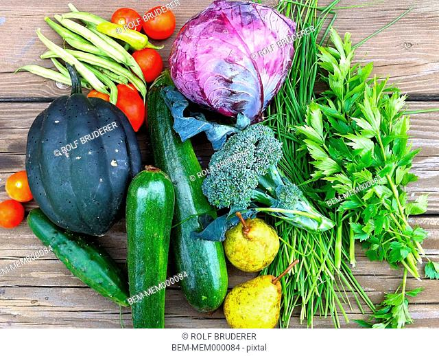 Close up of various healthy vegetables