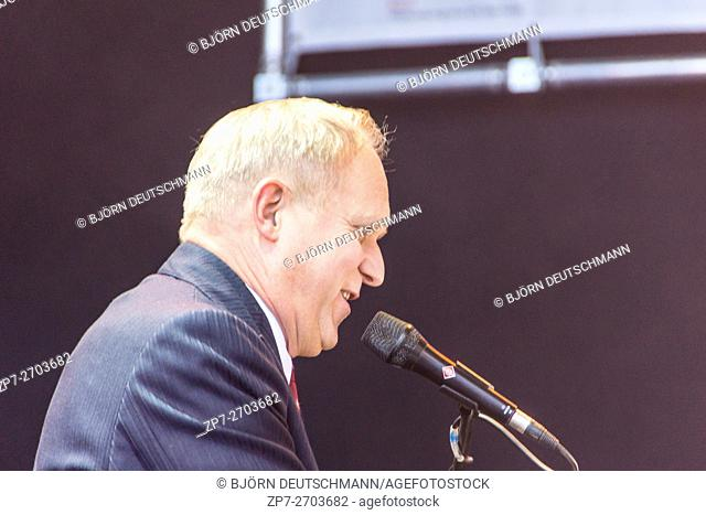 "Kiel, Germany - June 18nd 2016: The musician and actor Ulrich Tukur performs with his band """"Die Rhythmus Boys"""" on the Rathaus Stage during the Kieler Woche..."