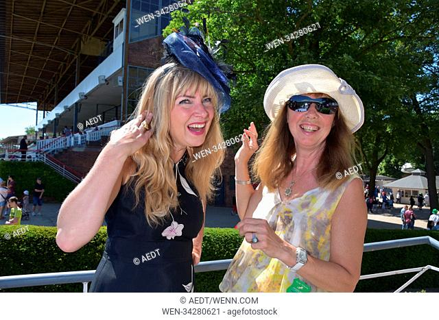 Guests attend and watch the Oleander Race on the Irish Race Day at Galopprennbahn Hoppengarten Featuring: Nanna Kuckuck, Maria Koteneva Where: Berlin