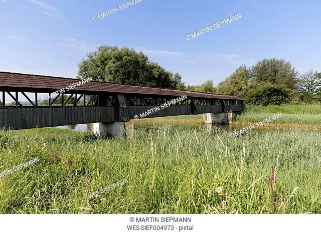 Austria, Vorarlberg, Hard, bridge over Dornbirn Ach, nature reserve Rhine Delta