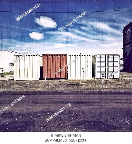 Shipping containers in city