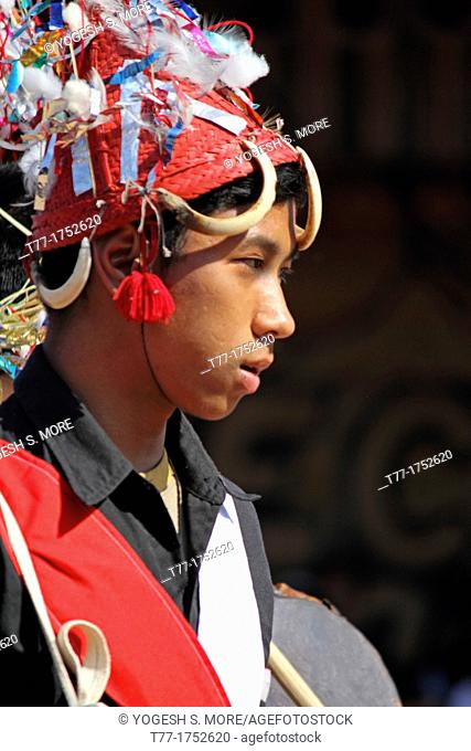 Tangsa, Lungchang Tribes performing dance at Namdapha Eco Cultural Festival, Miao, Arunachal Pradesh, India