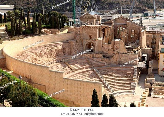 Roman Amphitheater ruin in Cartagena, Spain