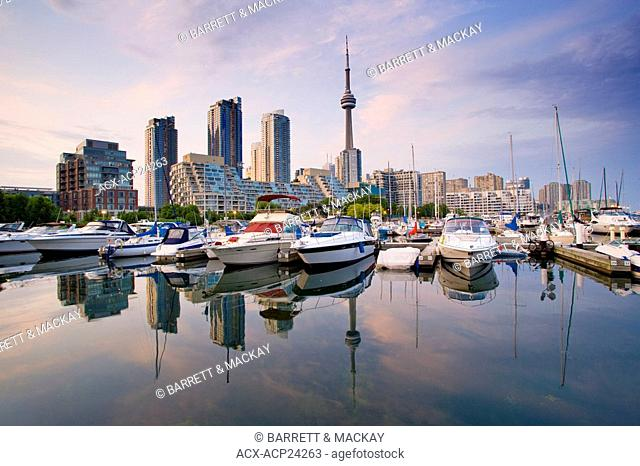 View of Toronto Skyline from harbourfront Marina, Toronto, Ontario, Canada