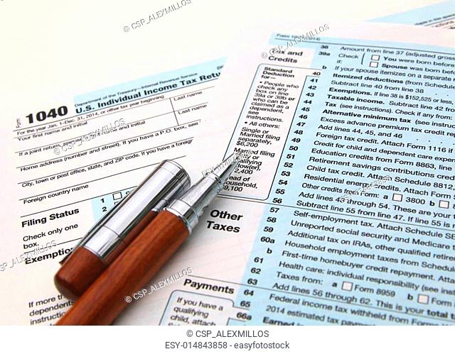 Income tax form and pen. Finance concept