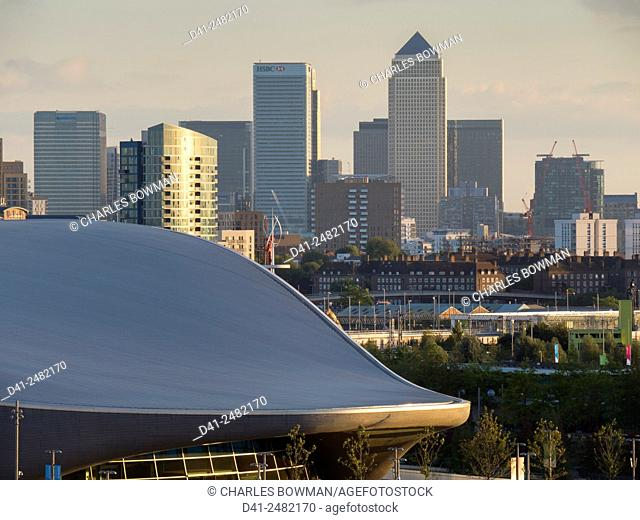 UK, England, London, Olympic Park Aquatic Canary Wharf daylight