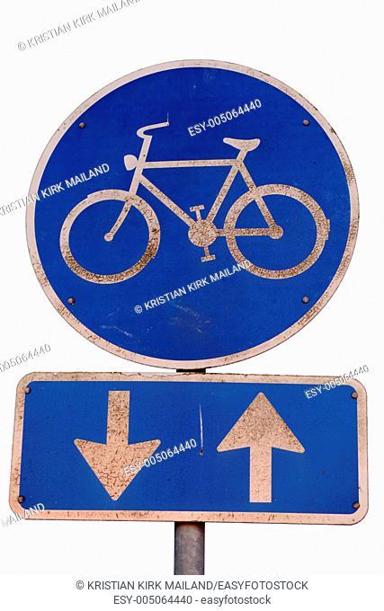 Blue bike lane sign - both directions