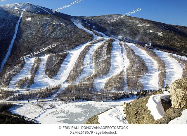 Franconia Notch State Park - Cannon Mountain in the White Mountains, New Hampshire USA from Eagle Cliff during the winter months