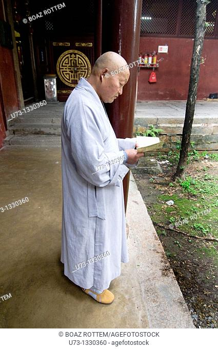 A Buddhist monk in Kaiyan temple in Chaozhou