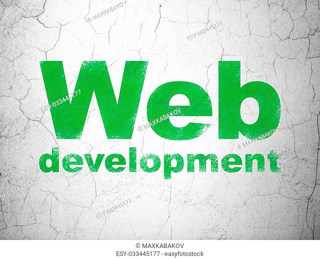 Web development concept: Green Web Development on textured concrete wall background, 3d render