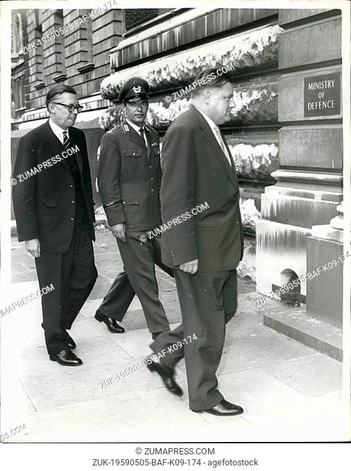May 05, 1959 - West German Defence Minister in London.: Herr Strauss the West Germany Defence Minister - who is in London at the invitation of the Government -...