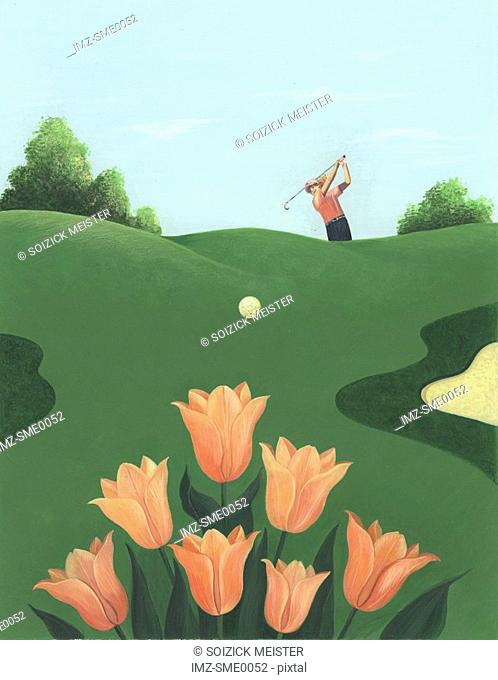 Tulips on a golf course
