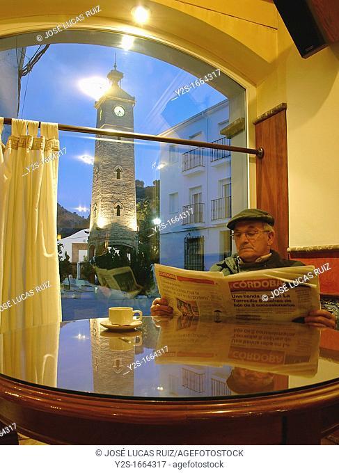 Restaurant La Bodega and the Clock Tower, Almedinilla, Cordoba-province, Spain