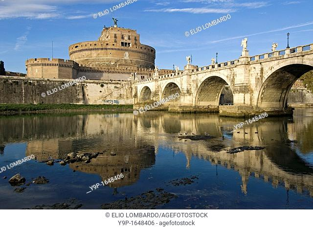 St  Angel Bridge and St  Angel Castle, Rome, Latium, Italy
