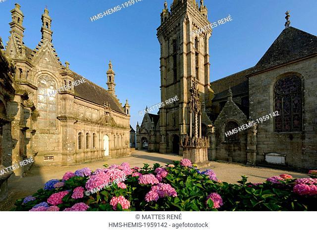 France, Finistere, stop on the Way of Saint Jacques de Compostelle listed as World Heritage by UNESCO, Saint Thegonnec, parish enclosure