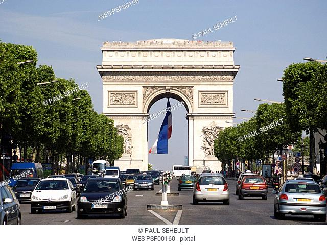 France, Paris, Arc de Triomphe, Champs Elysees