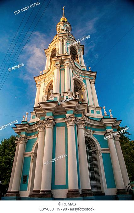 Saint Nicholas' Cathedral, Nikolsky sobor, popularly known as the Sailors' Chruch in Saint Petersburg, Russia at twilight time