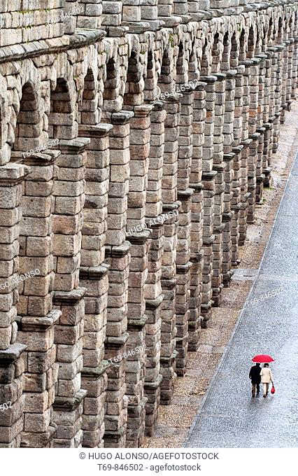 Roman aqueduct in a rainy day, Segovia, Castilla-Leon, Spain