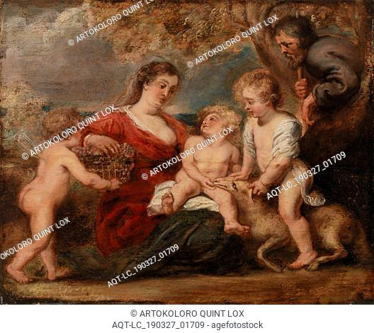 Peter Paul Rubens: The Holy Family with Saint John the Baptist and an Angel, Peter Paul Rubens, c. 1630s, Oil on panel, Overall: 15 1/4 x 18 3/4 in