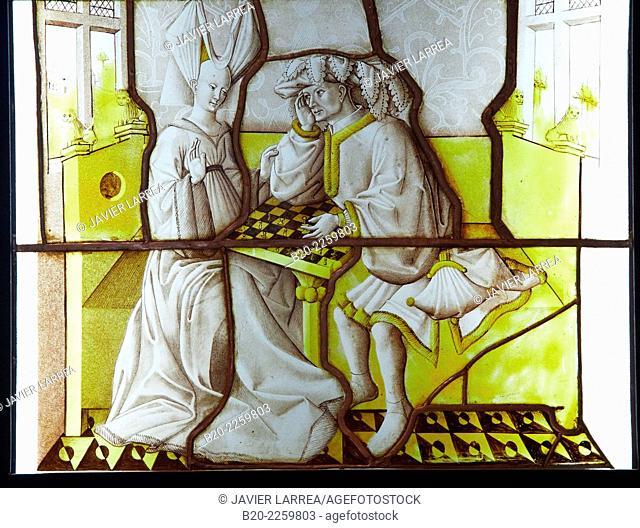 Rondel: Les Joueurs d'échecs. Lyonnais, 1430-1440. Musee du Moyen-Age Middle Ages Museum, the former Hotel de Cluny. Musée de Cluny. Paris. France