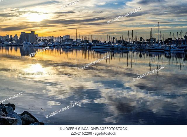 Sunrise at San Diego Harbor on a cloudy morning. San Diego, California, United States