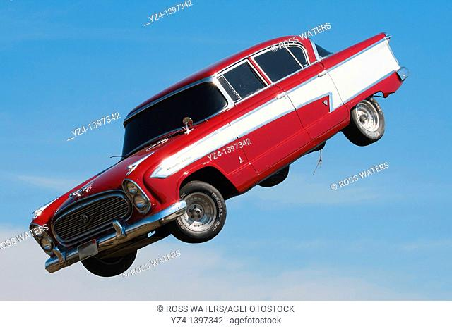 A 1955 Chevy Bel Air floating in the air