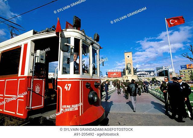 The old tram at Taksim Square. Istanbul. Turkey