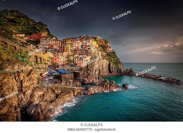 Manarola, Liguria, Italy. Landscape view of the city from the seaside