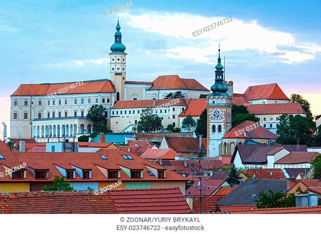 Mikulov town sunset top view (Czech Republic)