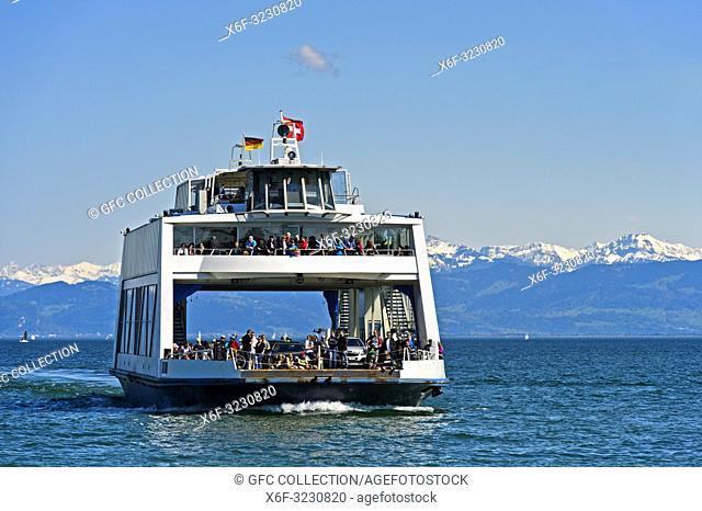 Ferry boat Euregia in the Romanshorn harbour, spire of the parish church of St. John behind, Romanshorn, Switzerland