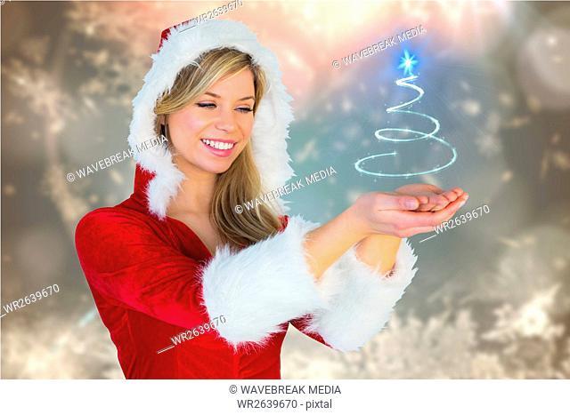 Beautiful woman in santa costume gesturing against digitally generated background