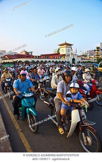 Traffic around Ben Thanh Market. Ho Chi Minh City (formerly Saigon). South Vietnam