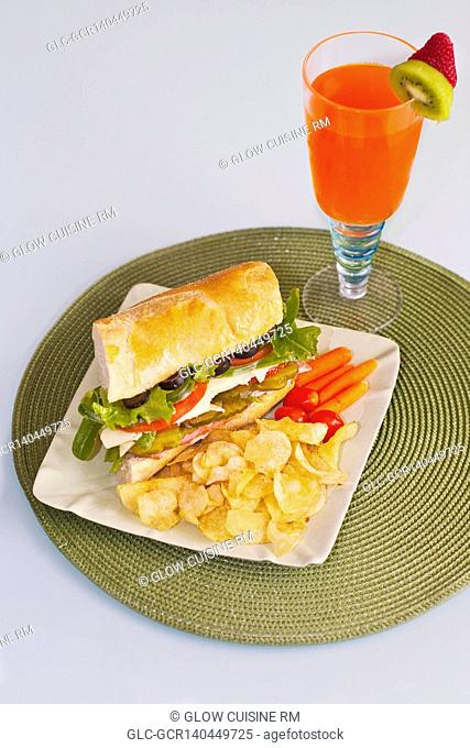Sandwich with a cocktail