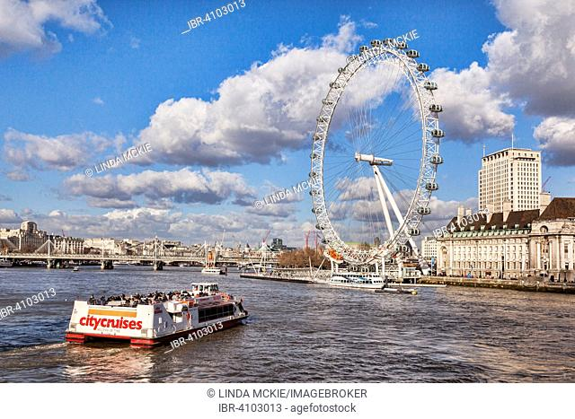 City Cruises riverboat approaching the London Eye, London, England, United Kingdom