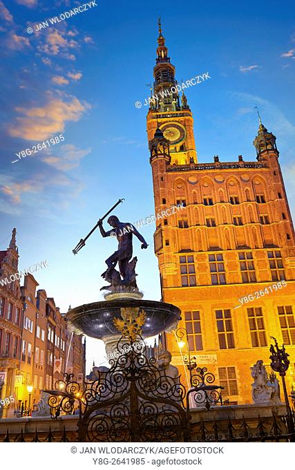 Neptune Fountain, Old Town in Gdansk, Poland