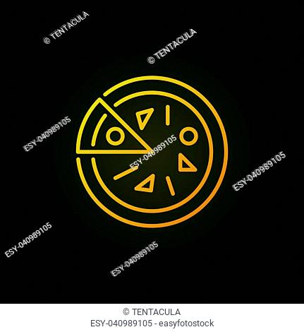 Pizza yellow vector outline icon or logo element on dark background