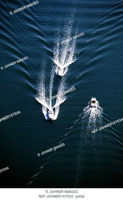 Boats in sea, elevated view