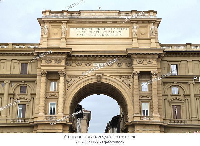 Triumphal arch, Piazza della Repubblica, Florence, Italy