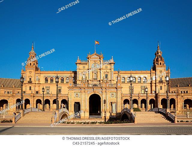 The Plaza de España. Seville, Seville province, Andalusia, Spain