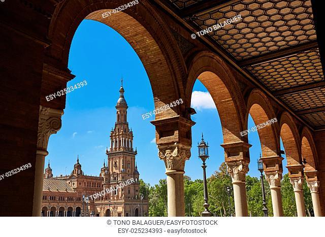 Seville Sevilla Plaza de Espana arcades Andalusia Spain square