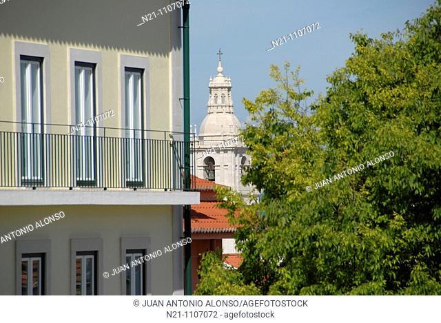 One of the towers of the Mosteiro de Sao Vicente de Fora. Alfama,  Lisbon, Portugal