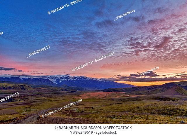 Sunset, Fljotshlid, Eyjafjallajokull glacier, Iceland